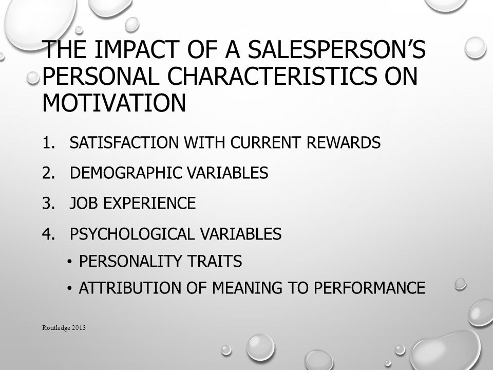 The Impact of a Salesperson's Personal Characteristics on Motivation