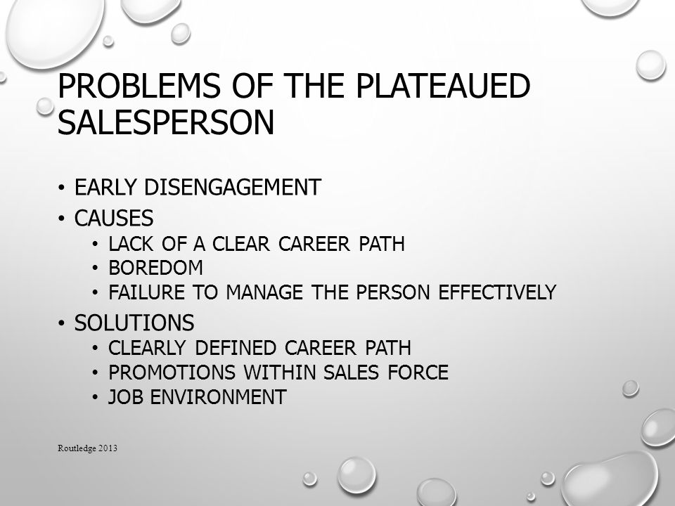 Problems of the Plateaued Salesperson