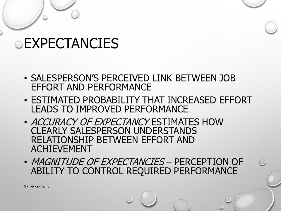 Expectancies Salesperson's perceived link between job effort and performance.