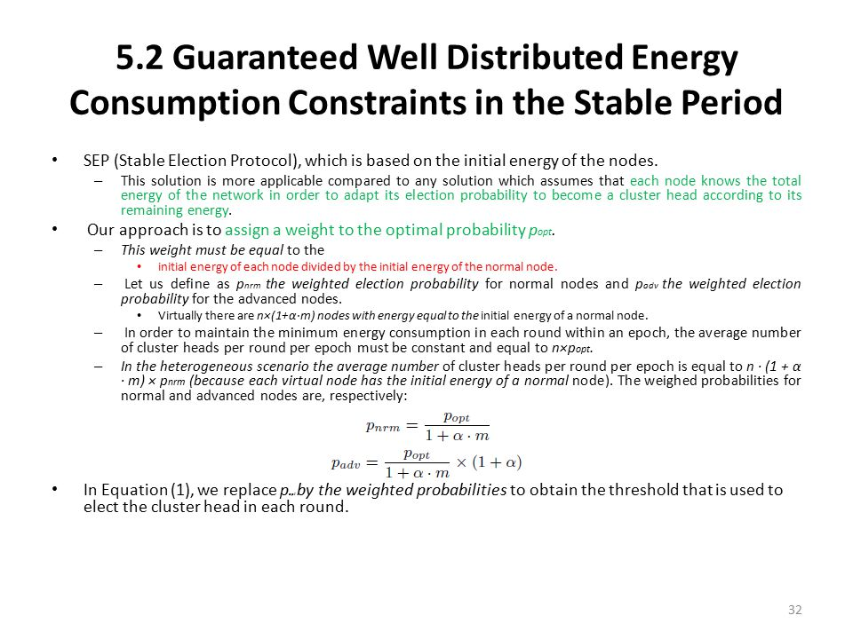 5.2 Guaranteed Well Distributed Energy Consumption Constraints in the Stable Period