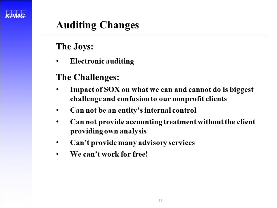 Auditing Changes The Joys: The Challenges: Electronic auditing