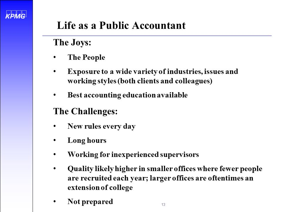 Life as a Public Accountant