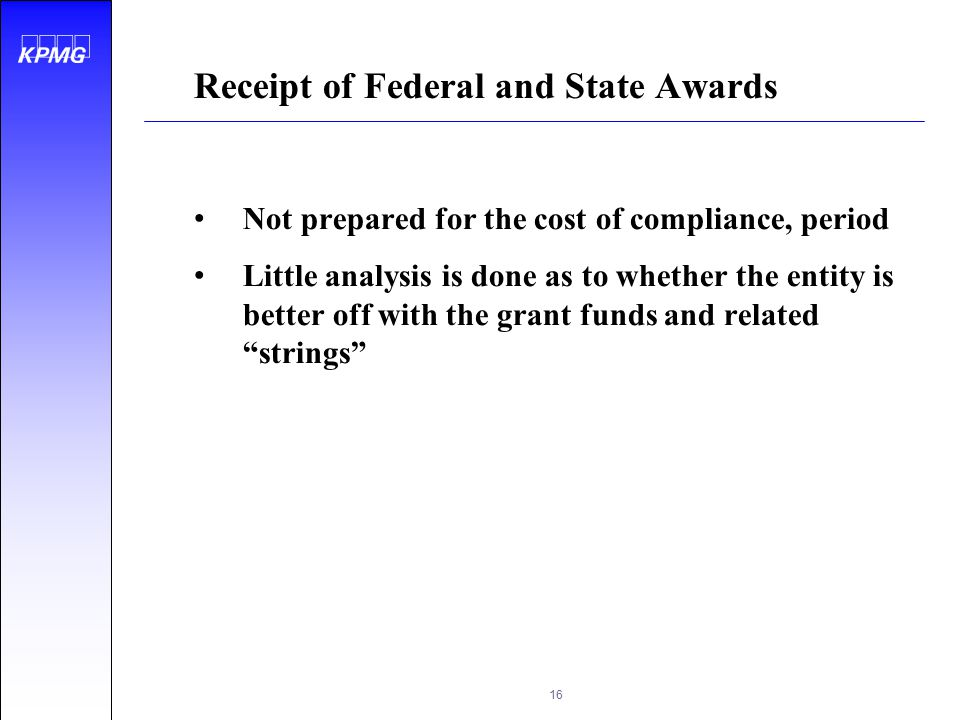 Receipt of Federal and State Awards