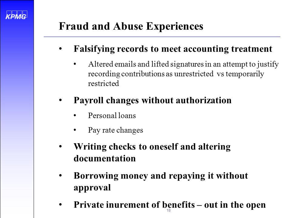 Fraud and Abuse Experiences