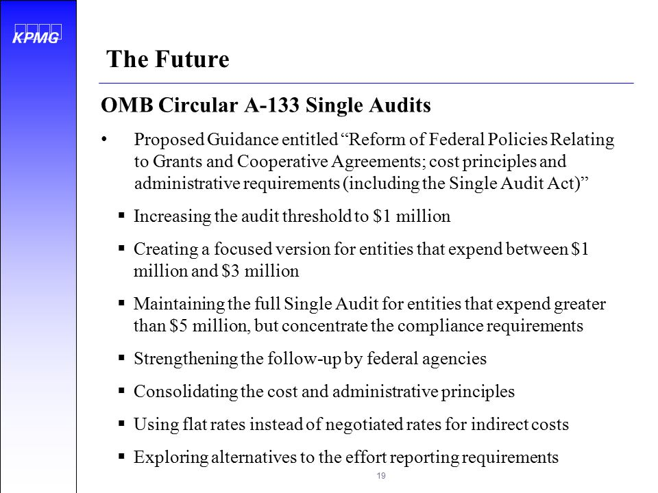 The Future OMB Circular A-133 Single Audits