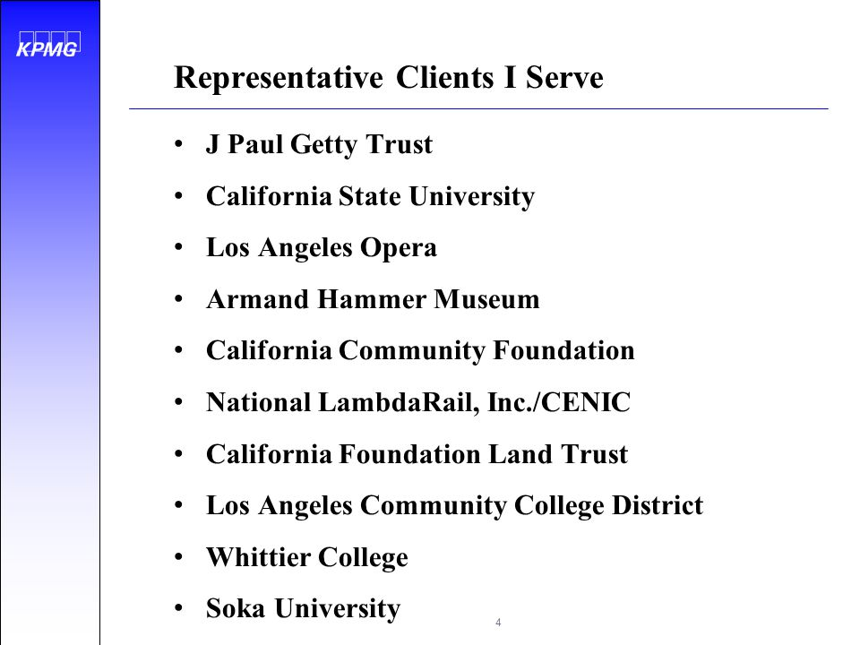 Representative Clients I Serve