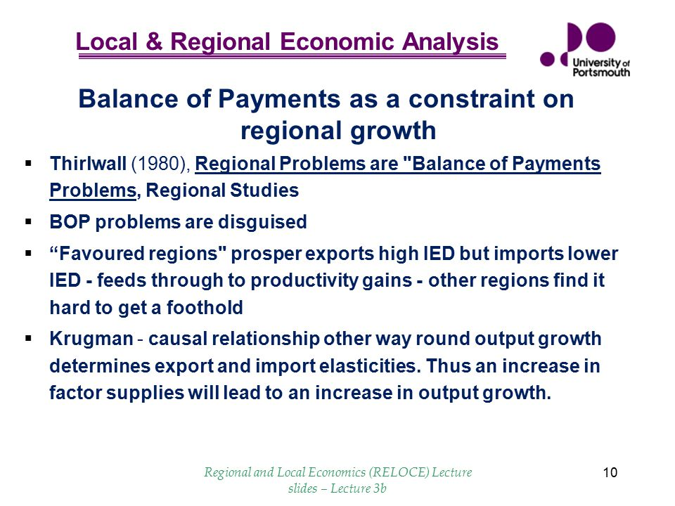 Balance of Payments as a constraint on regional growth