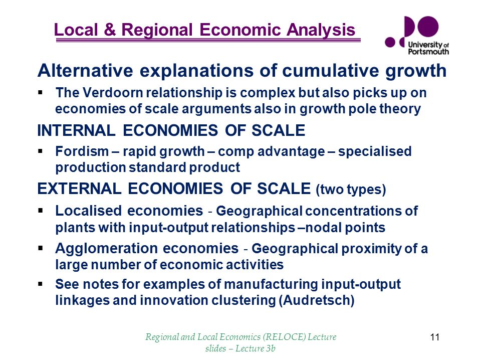Alternative explanations of cumulative growth