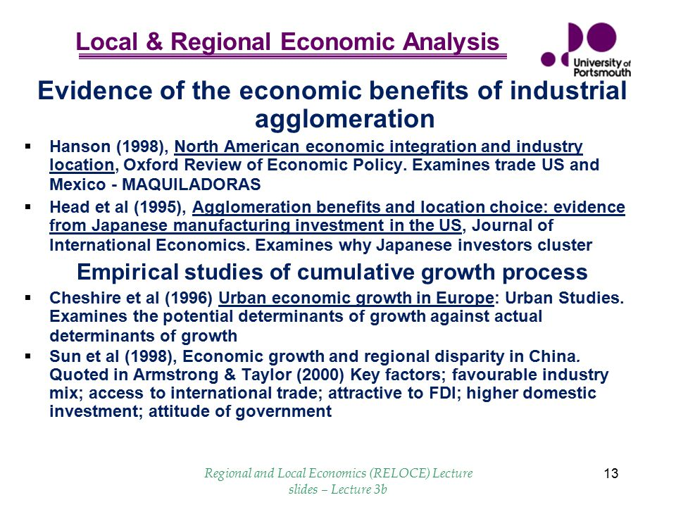 Evidence of the economic benefits of industrial agglomeration