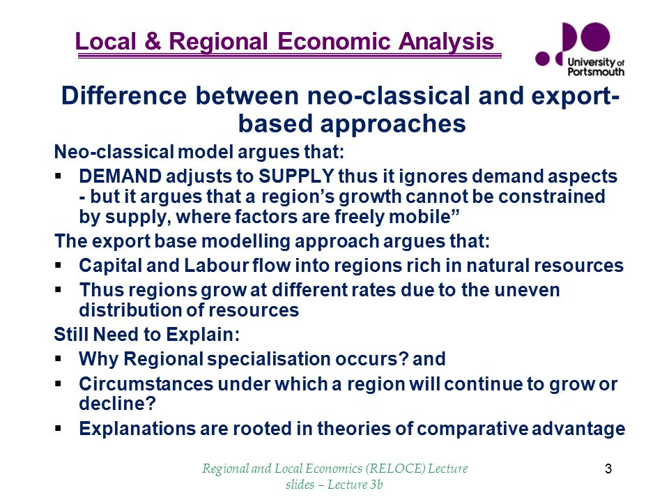 Difference between neo-classical and export-based approaches