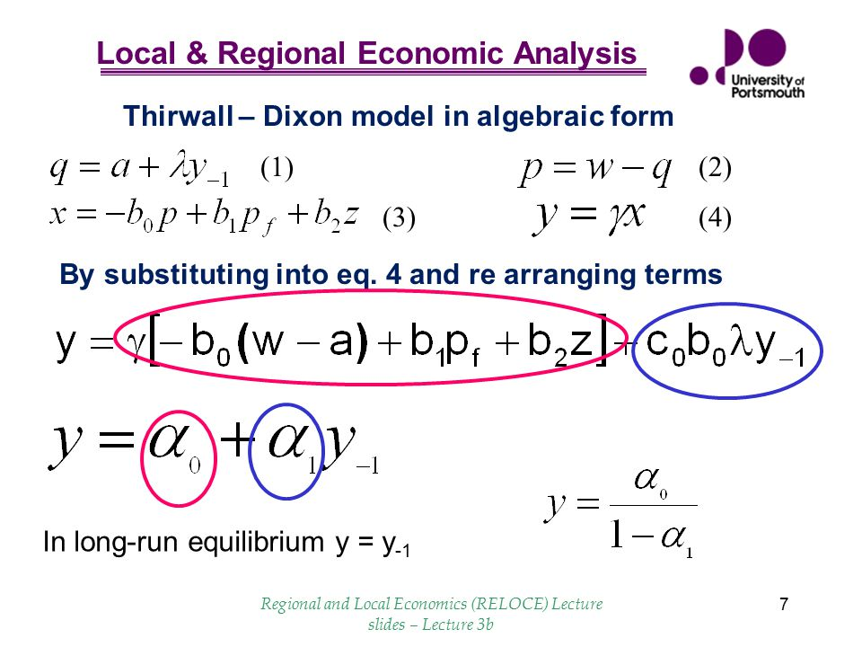 Thirwall – Dixon model in algebraic form