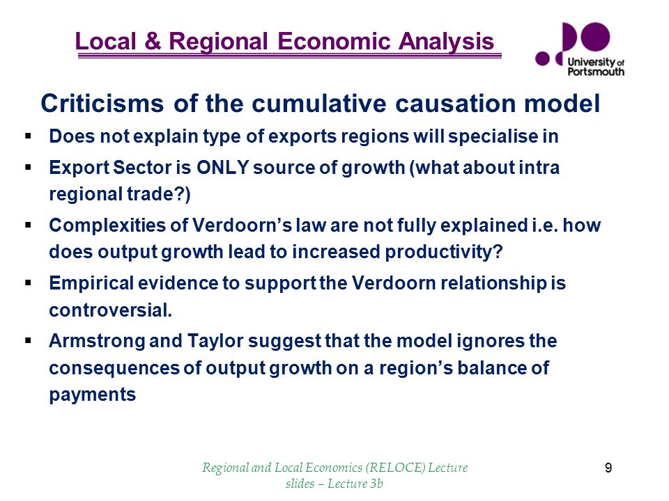 Criticisms of the cumulative causation model
