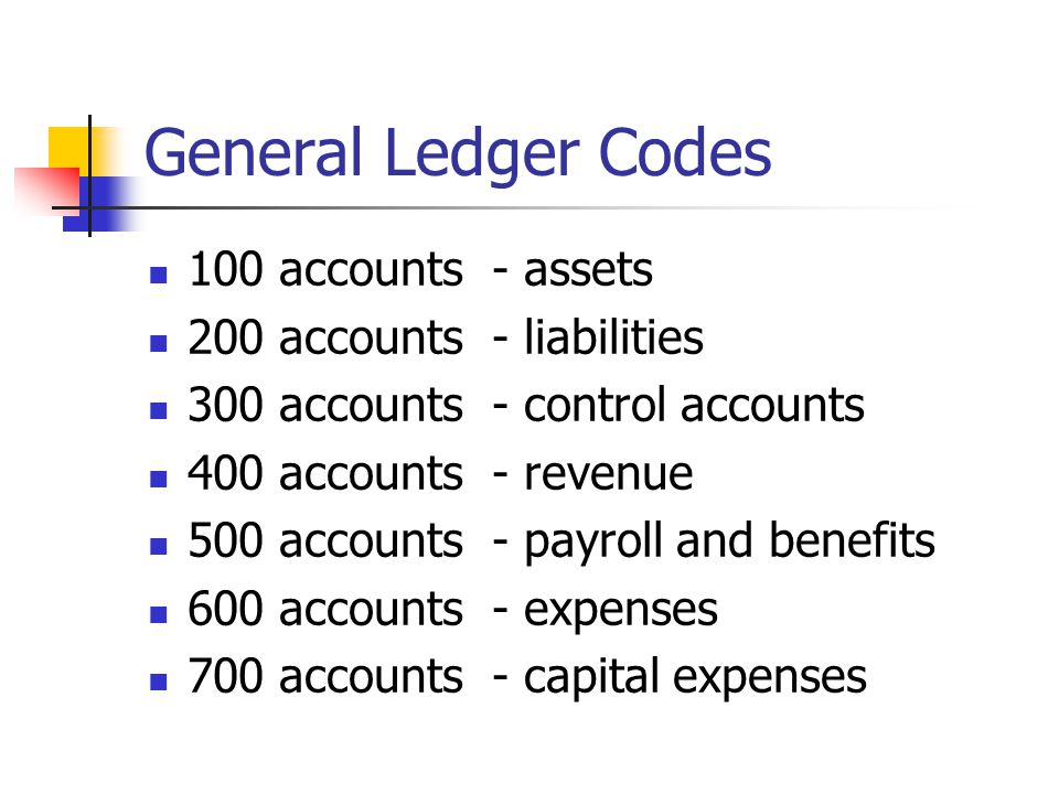 General Ledger Codes 100 accounts - assets 200 accounts - liabilities