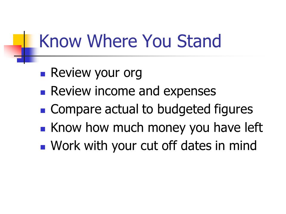 Know Where You Stand Review your org Review income and expenses