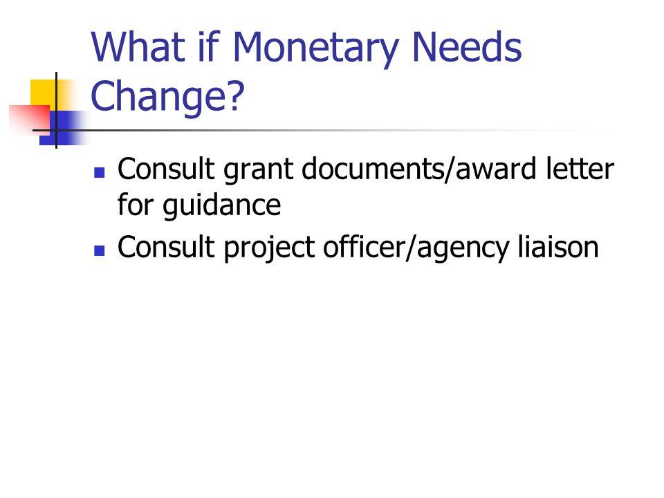 What if Monetary Needs Change
