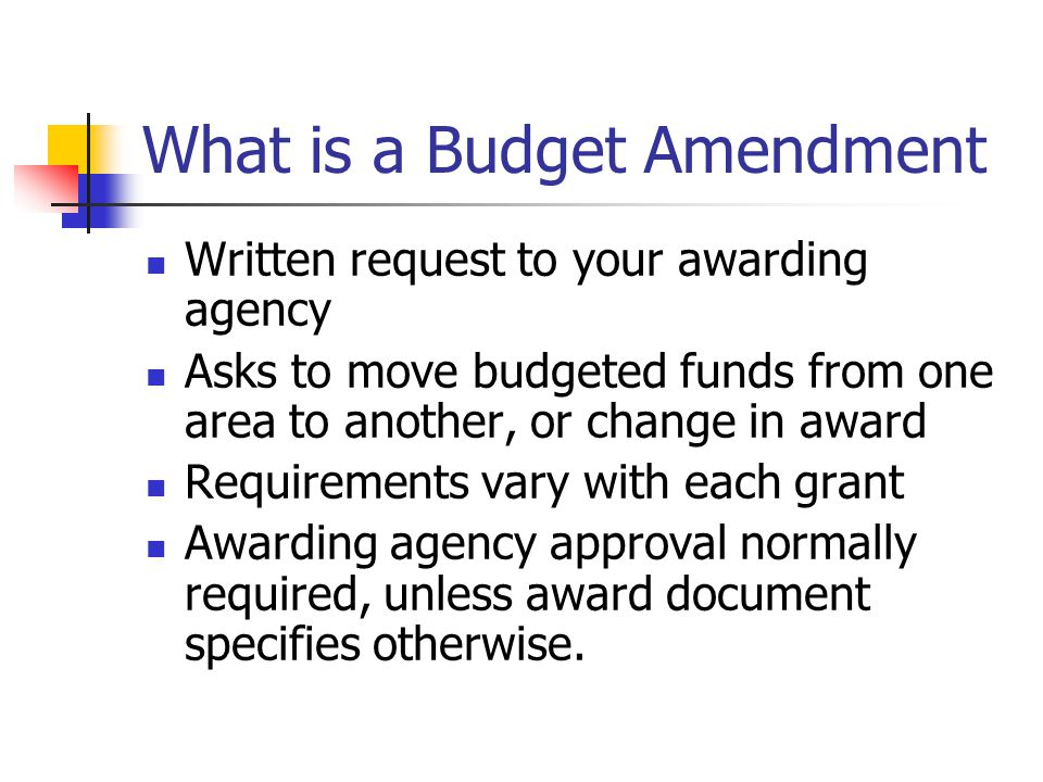 What is a Budget Amendment