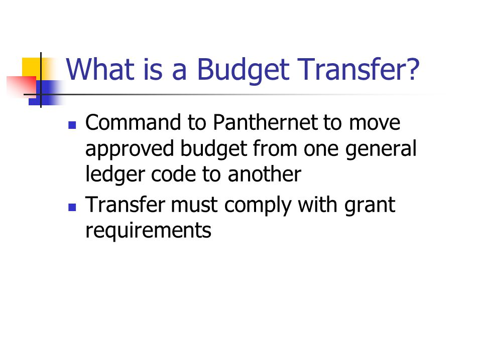 What is a Budget Transfer