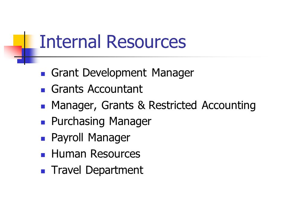 Internal Resources Grant Development Manager Grants Accountant