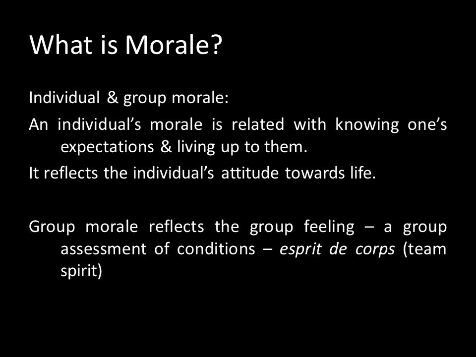What is Morale