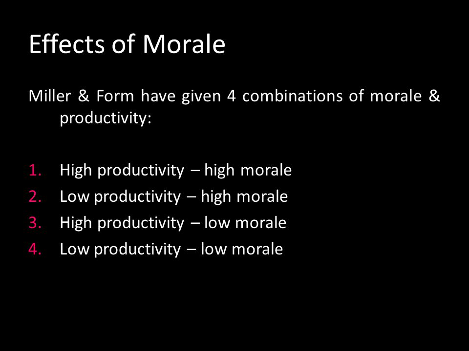 Evaluation of lack of morale from
