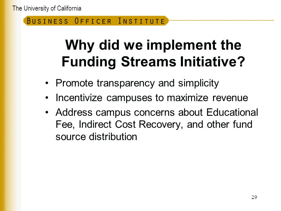 Why did we implement the Funding Streams Initiative