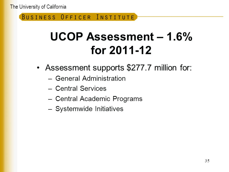 UCOP Assessment – 1.6% for 2011-12