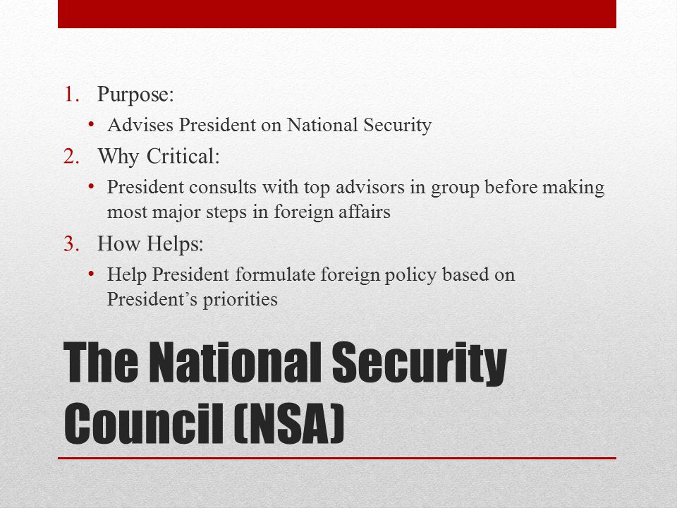 The National Security Council (NSA)