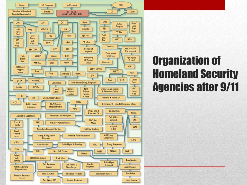 Organization of Homeland Security Agencies after 9/11