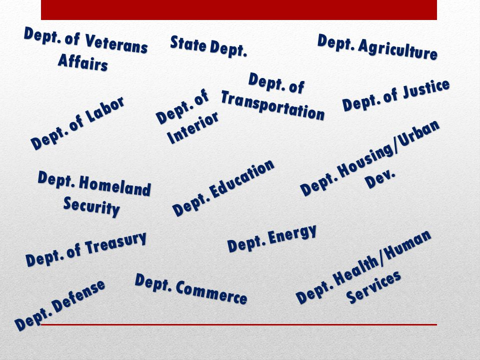 Dept. of Veterans Affairs State Dept. Dept. Agriculture
