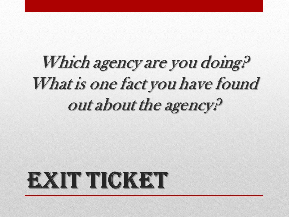 Which agency are you doing