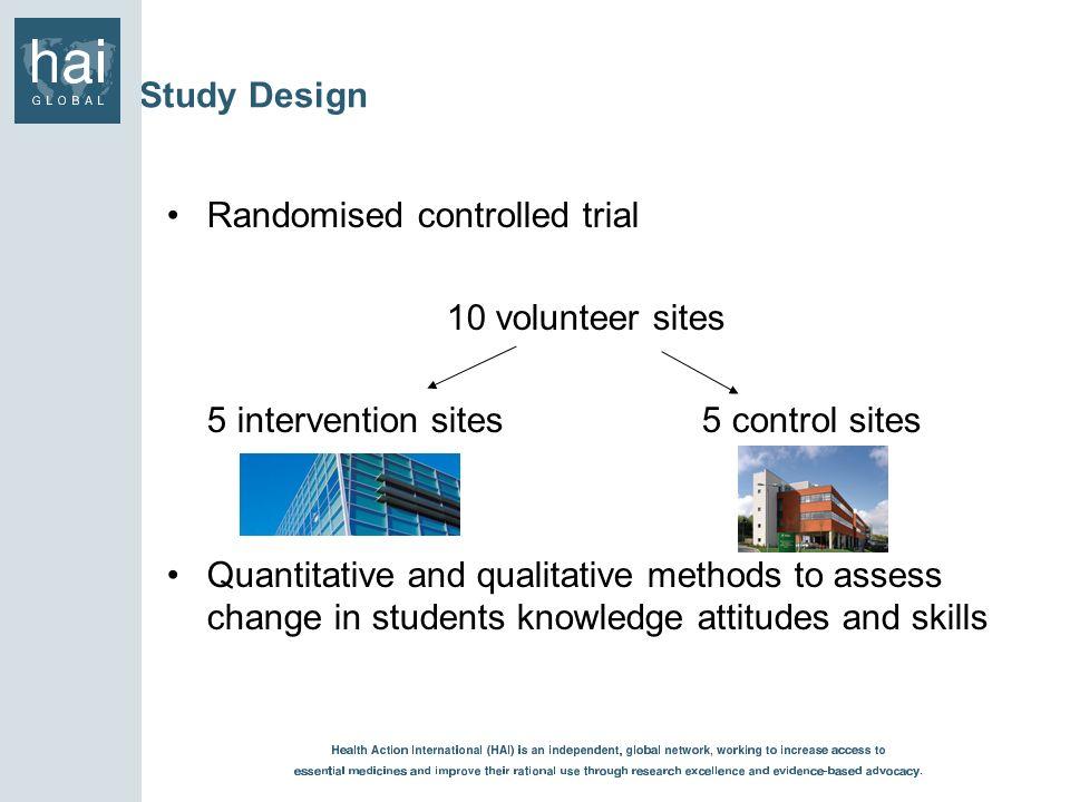 Randomised controlled trial 10 volunteer sites