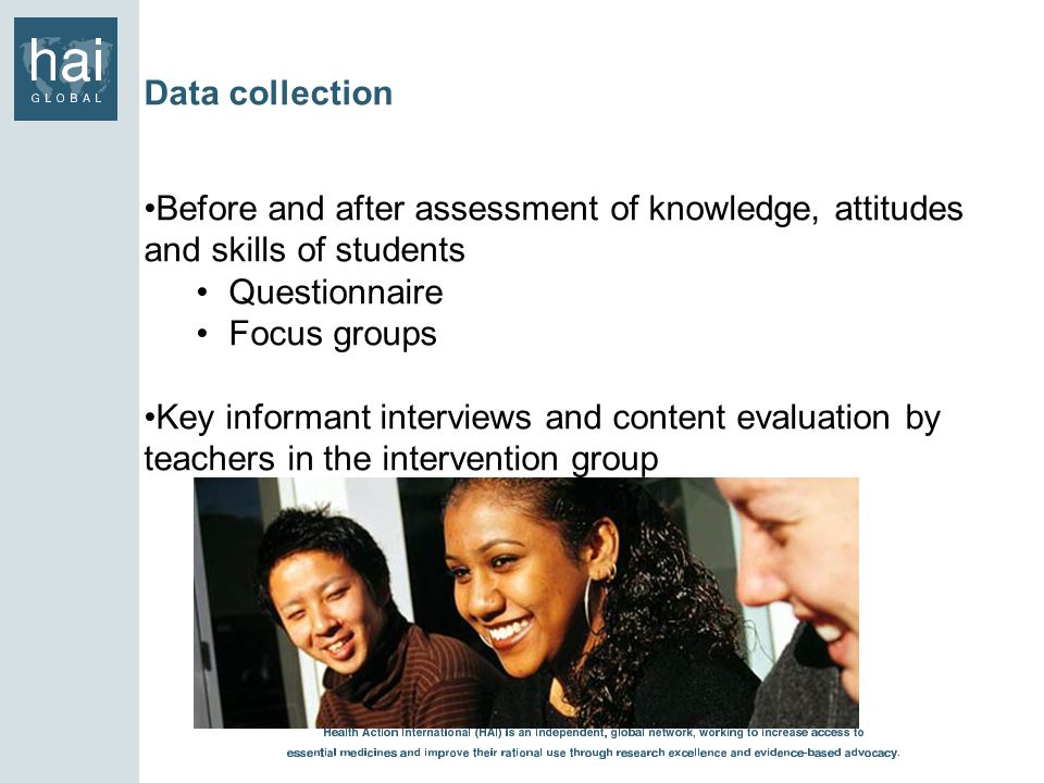Data collection Before and after assessment of knowledge, attitudes and skills of students. Questionnaire.