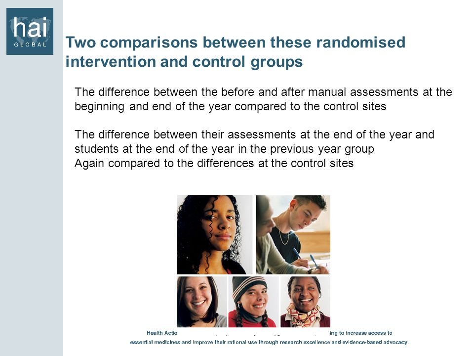 Two comparisons between these randomised intervention and control groups