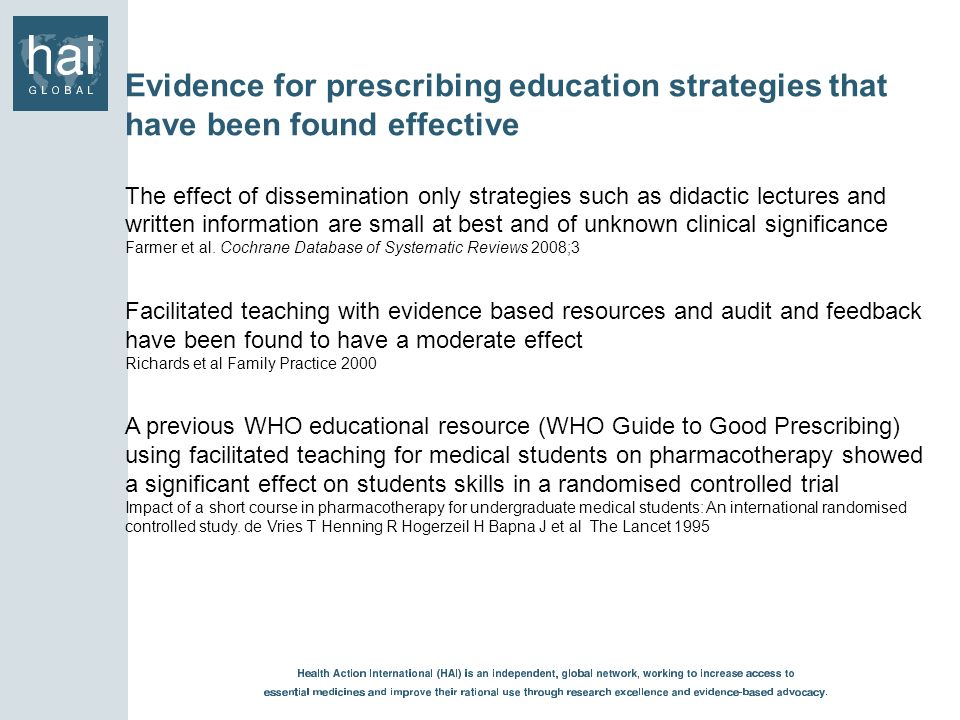 Evidence for prescribing education strategies that have been found effective