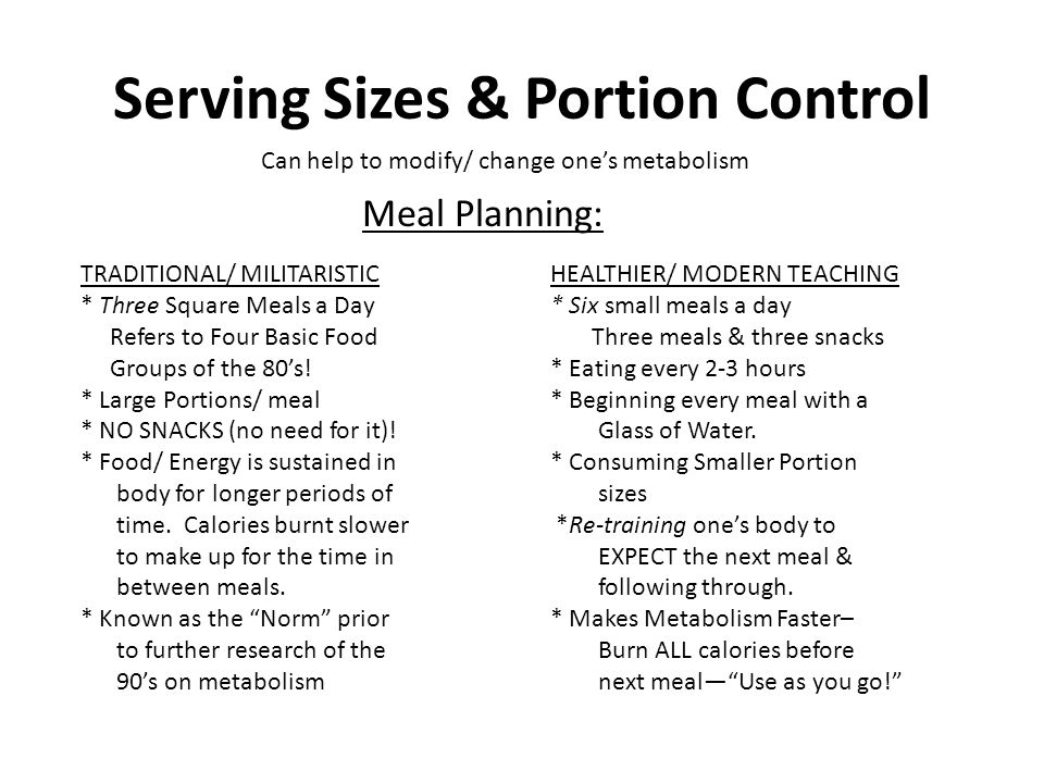 Serving Sizes & Portion Control