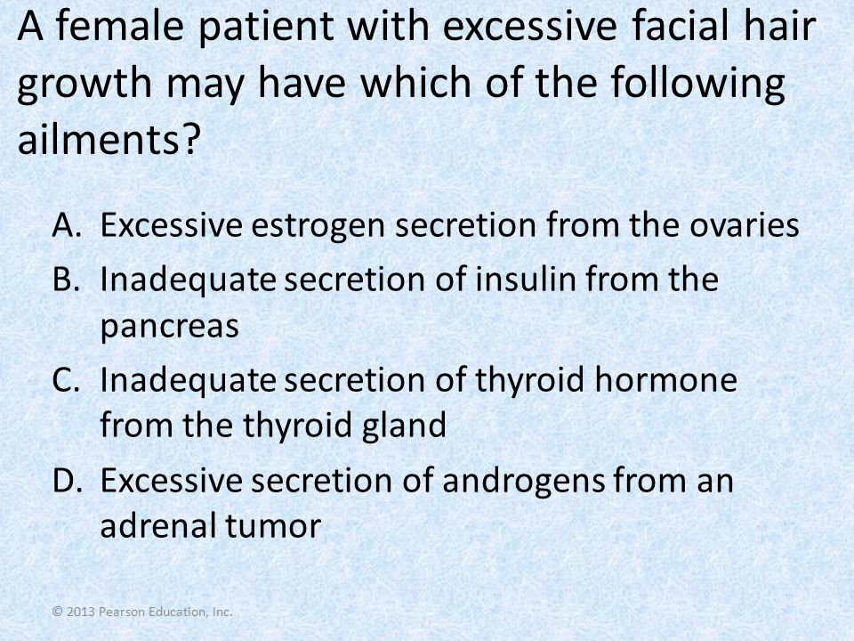 A female patient with excessive facial hair growth may have which of the following ailments