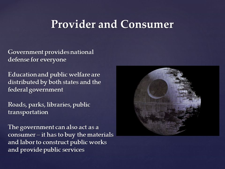 Provider and Consumer Government provides national defense for everyone.