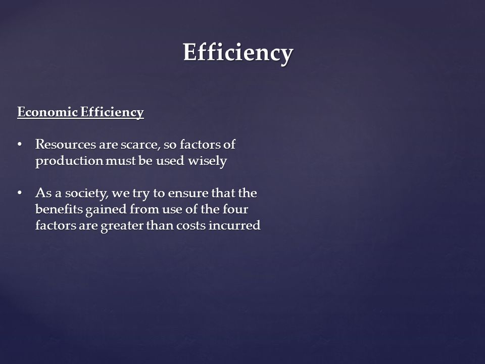 Efficiency Economic Efficiency