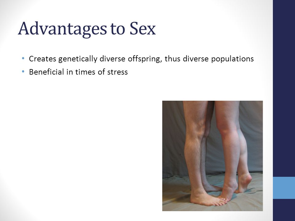Advantages to Sex Creates genetically diverse offspring, thus diverse populations.