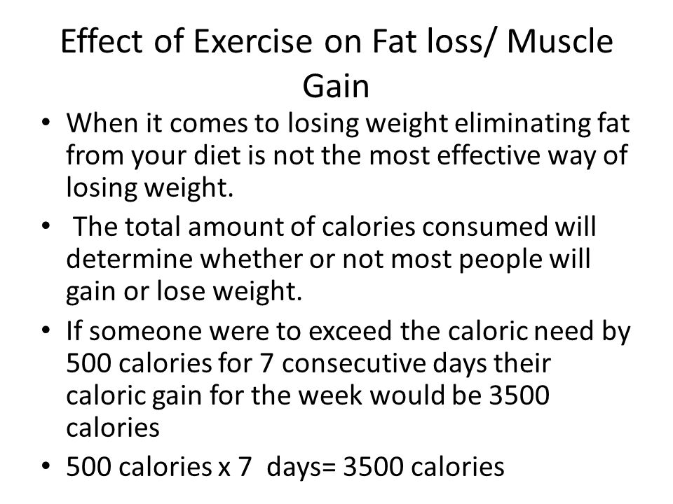 Effect of Exercise on Fat loss/ Muscle Gain