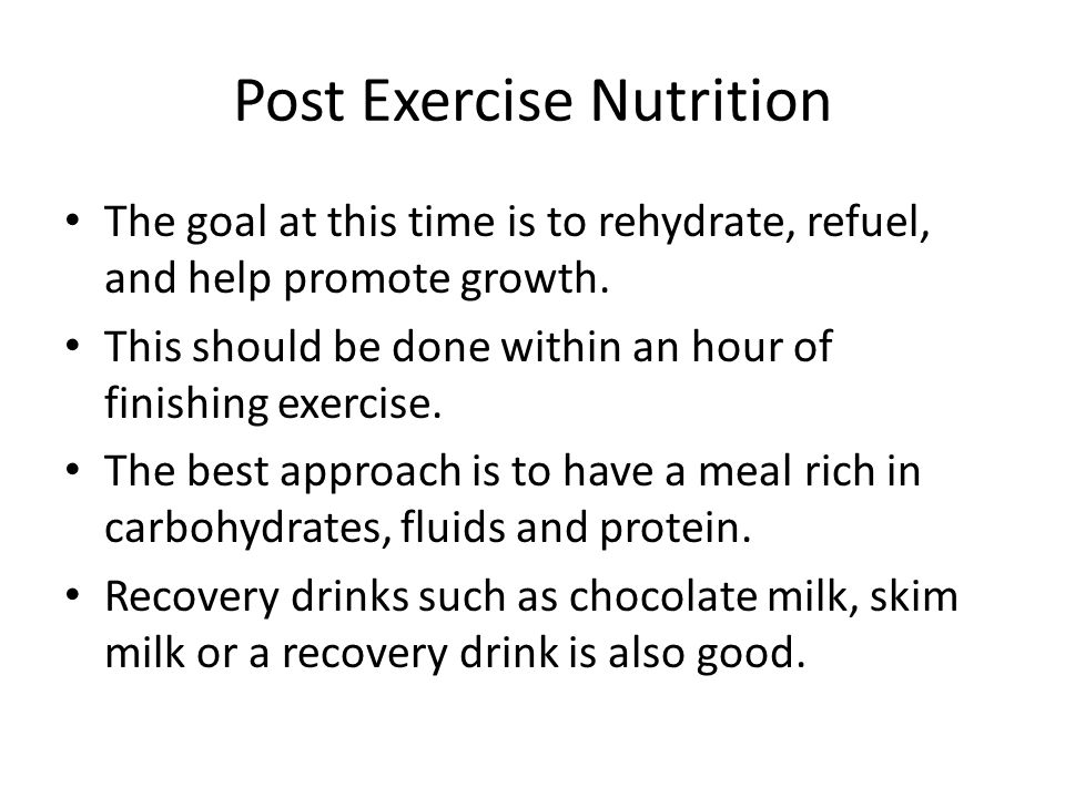 Post Exercise Nutrition
