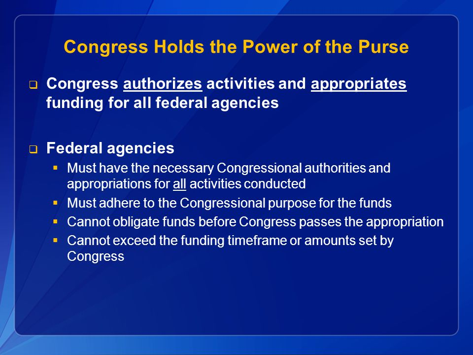 Congress Holds the Power of the Purse