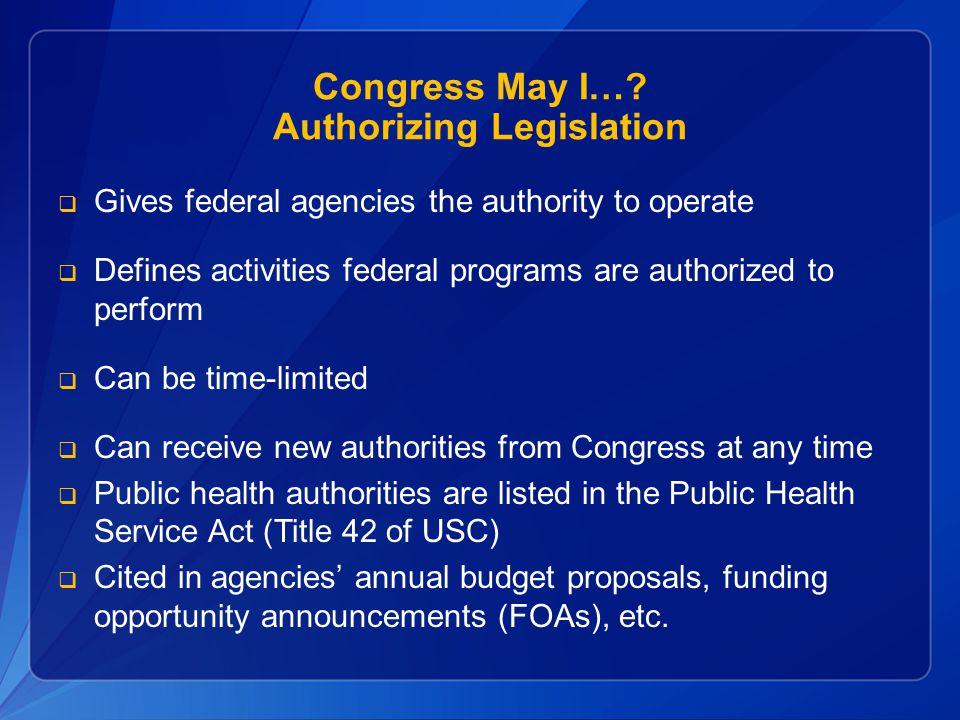 Congress May I… Authorizing Legislation