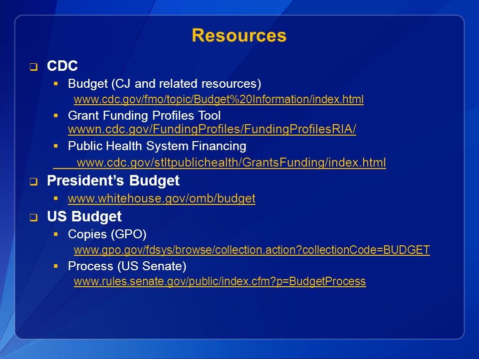 Resources CDC President's Budget US Budget