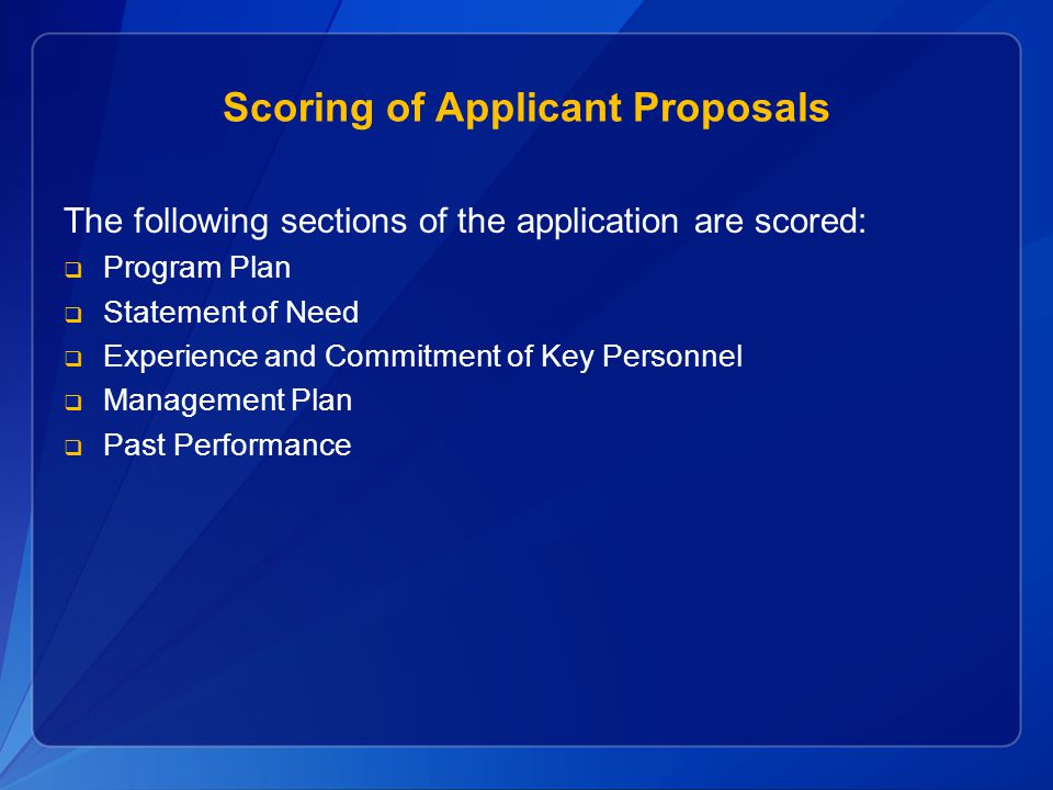Scoring of Applicant Proposals