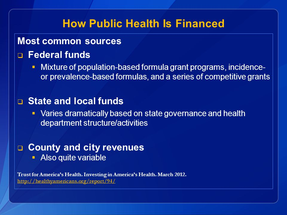 How Public Health Is Financed
