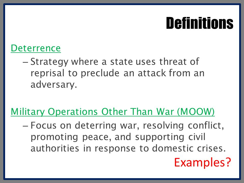 Definitions Examples Deterrence
