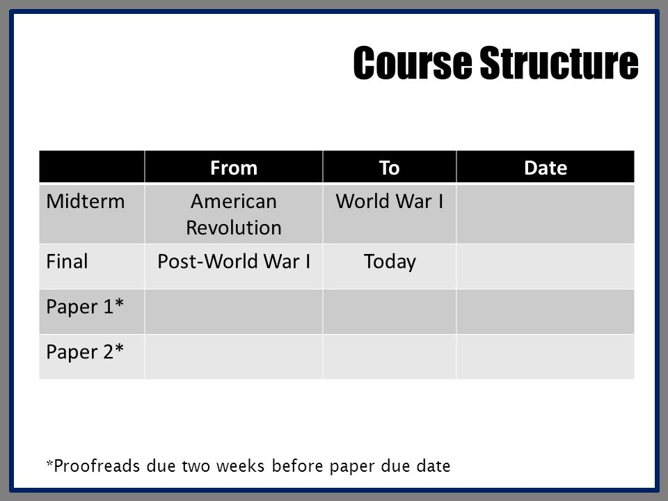 Course Structure From To Date Midterm American Revolution World War I