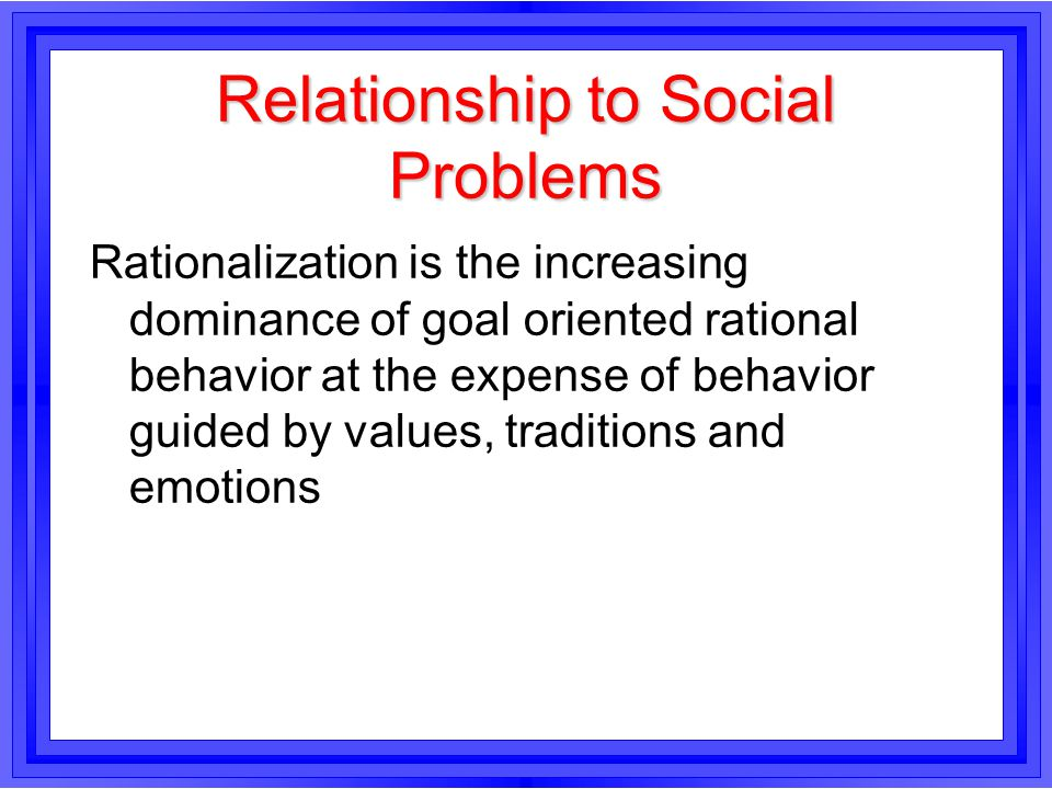 Relationship to Social Problems