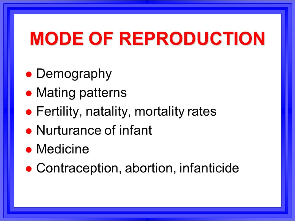MODE OF REPRODUCTION Demography Mating patterns